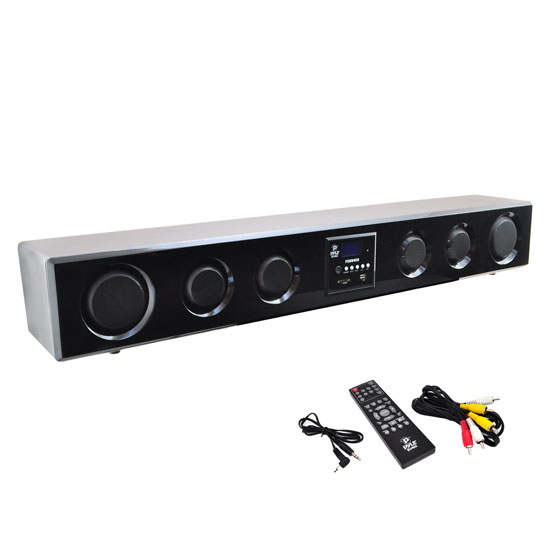 Pyle - PSBV400 , Sound and Recording , SoundBars - Home Theater , 6-Way 300 Watt Multi-Source Wall/Shelf Mount Sound Bar w/USB, SD, MP3, FM Tuner