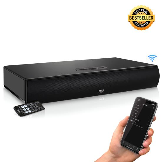 Pyle - AZPSBV600BT , Sound and Recording , SoundBars - Home Theater , Wave Base Bluetooth Tabletop Soundbar Digital Speaker System with Remote Control, AUX (3.5mm) & RCA Input Jacks