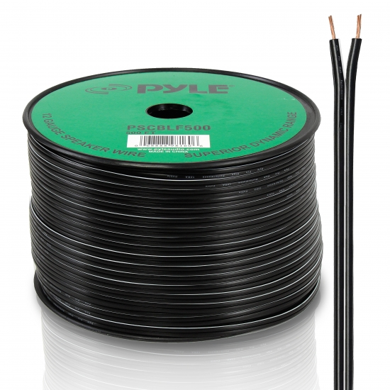 Pyle - PSCBLF500 , Car Audio , Audio / Video Cables And Accessories , Speaker Cables , 500Ft 12 AWG Spool Speaker cable With Rubber Jacket