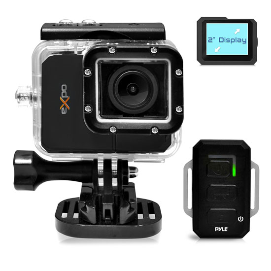 Pyle - PSCHD90BK , Gadgets and Handheld , Action and Outdoor Cameras , Pyle eXpo Hi-Res Action Cam with Full HD 1080p Video, 20 Mega Pixel Camera, 2'' LCD Screen, Wi-Fi Remote