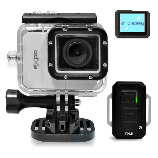 Pyle - PSCHD90SL , Gadgets and Handheld , Cameras - Videocameras , Pyle eXpo Hi-Res Action Cam with Full HD 1080p Video, 20 Mega Pixel Camera, 2'' LCD Screen, Wi-Fi Remote