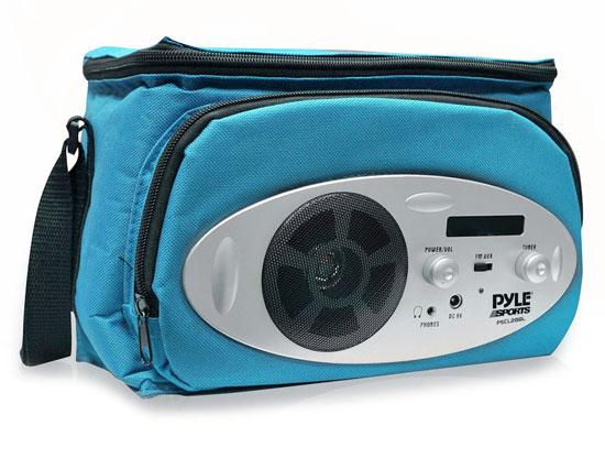 Pyle - PSCL28BL , Sports & Outdoors , Cooler Bags , Cooler Bag with Built in AM/FM Radio, Headphone Output and AUX IN for MP3 Players (Blue Color)