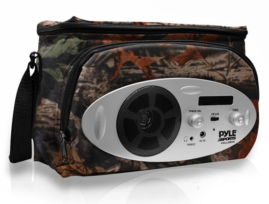 Pyle - PSCL28CM , Gadgets and Handheld , Multi-Function Handheld Devices , Cooler Bag with Built in AM/FM Radio, Headphone Output and AUX IN for MP3 Players (Camo Color)
