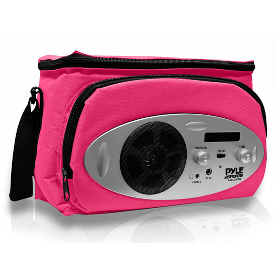 Pyle - PSCL28RD , Gadgets and Handheld , Multi-Function Handheld Devices , Cooler Bag with Built in AM/FM Radio, Headphone Output and AUX IN for MP3 Players (Pink Color)