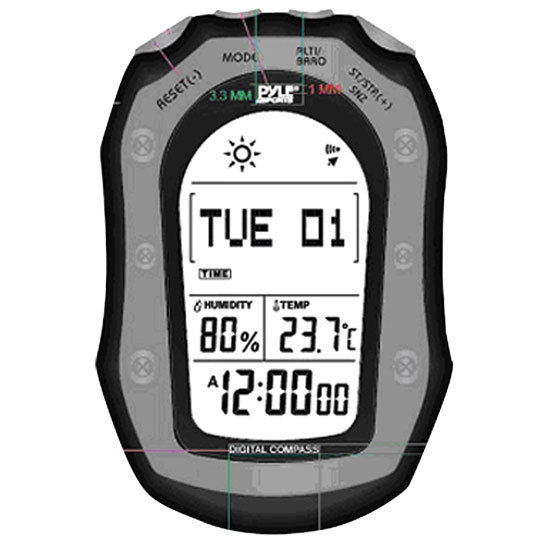Pyle - PSHWM22BK , Sports & Outdoors , Temperature & Level Meters , Weather Station W/ Weather Forecast, 58 World Time, Temp., Altimeter, Barometer, Digital Compass (Black Color)