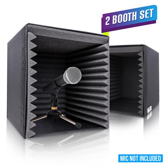 Pyle - PSIB27X2 , Sound and Recording , Sound Isolation - Dampening , 2 Pcs. Sound Recording Booth Box - Studio Soundproofing Foam Shield Isolation Filter Cube