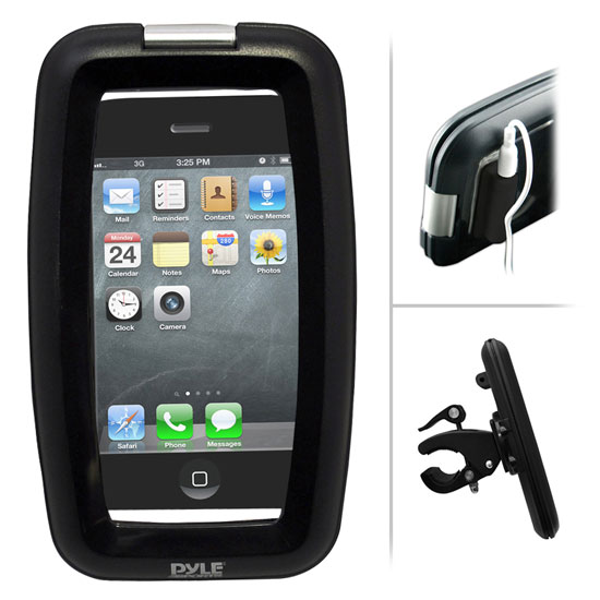 Pyle - psic40 , Home and Office , Carrying Cases - Portability , Gadgets and Handheld , Carrying Cases - Portability , Universal Waterproof Clip-Grip Handlebar Bike Mount Holder Case with Headphone Jack - Fits  iPhone4 4s iPod Touch and Some Other Smartphones and Media Players (Black)