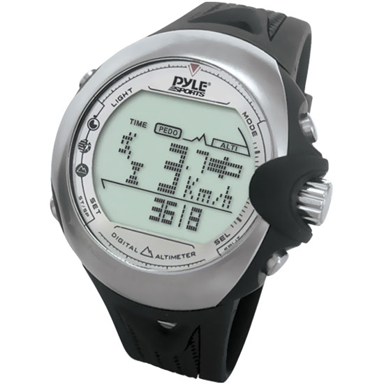 Pyle - PSKI2 , Sports and Outdoors , Watches , Gadgets and Handheld , Watches , Skiing Digital Watch With Clock, Ski Mode, Altimeter, Barometer, Compass, Tide, Thermometer, Timer