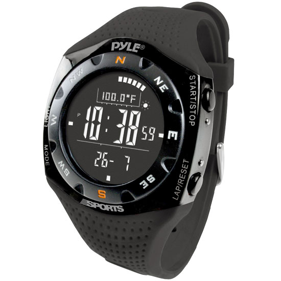 Pyle - PSKIW25BK , Sports and Outdoors , Watches , Ski Master V Professional Ski Watch w/ Max. 20 Ski Logbook, Weather Forecast, Altimeter, Barometer, Digital Compass,Thermometer (Black Color)