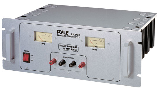 Pyle - PSL642X , On the Road , Power Supply - Power Converters , 60 Amp Rack Mount Linear Power Supply AC/DC With Rolling Casters