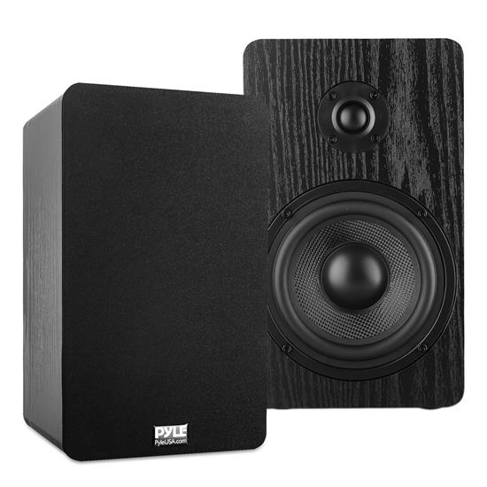 Pyle - PSMSP5 , Sound and Recording , SoundBars - Home Theater , 5.25'' Home Theater Wooden Bookshelf Speakers - Wall-Mountable with 0.75'' Silk Dome Tweeter and Aluminum Voice Coils, Pair (Black)