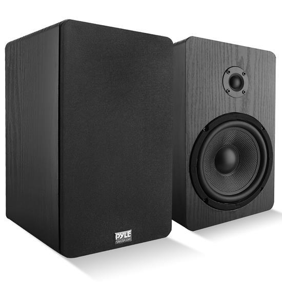 Pyle - PSMSP6 , Sound and Recording , SoundBars - Home Theater , 6.5'' Home Theater Wooden Bookshelf Speakers - Wall-Mountable with 0.75'' Silk Dome Tweeter and Aluminum Voice Coils, Pair (Black)