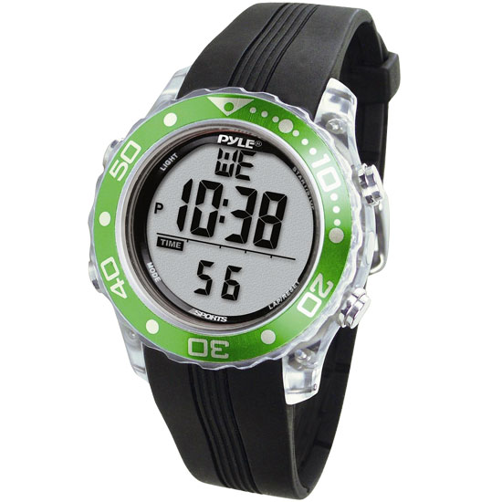 Pyle - PSNKW30GN , Sports and Outdoors , Watches , Gadgets and Handheld , Watches , Waterproof Underwater Snorkeling & Diving Multi-Function Water Sport Wrist Watch with Dive Mode, Chronograph, Stopwatch, Water Temperature, Dive Depth & Duration (Green Color)