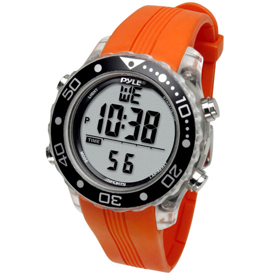 Pyle - PSNKW30O , Sports and Outdoors , Watches , Gadgets and Handheld , Watches , Waterproof Underwater Snorkeling & Diving Multi-Function Water Sport Wrist Watch with Dive Mode, Chronograph, Stopwatch, Water Temperature, Dive Depth & Duration (Orange Color)