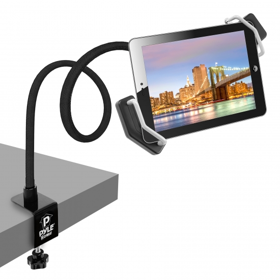 Pyle - PSPAD15 , DJ Equipment , Stands , Gooseneck Seat Desk Bolt Clamp Mount Bracket Tablet Holder For All iPads, Kindle, Androids, eReaders, Nexus,Sansumg Galaxy Table/Surface Clamp, Swivel/Adjustable Gooseneck Arm, LED Lights, & USB Charge Port