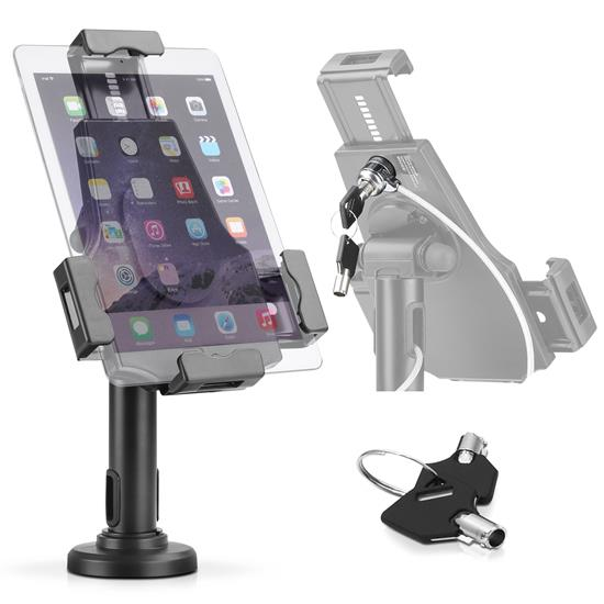 "Pyle - PSPADLK8 , Musical Instruments , Mounts - Stands - Holders , Sound and Recording , Mounts - Stands - Holders , Universal Tamper-Proof Anti-Theft iPad Tablet Kiosk Stand Holder for Public Display with Cable Management, Fits Virtually All Tablets 7.9 – 10.1"", Swivel, Rotation and Tilt Adjustable and Included Wall Mount (Compatible with iPads Mini/1/2/3/4/Air)"