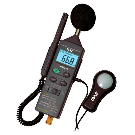 Pyle - PSPL41 , Personal Electronics , Meters & Testers , 4 in 1 Multifunction Environment Meter with Sound Level Meter, Light Meter, Humidity, and Temperature