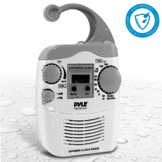 Pyle - PSR6 , Personal Electronics , Personal Care , Hanging Waterproof AM/FM Shower Clock Radio