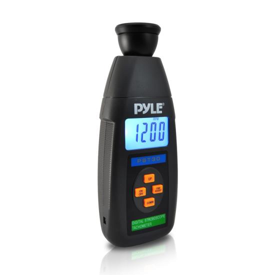 Pyle - PST30 , Tools and Meters , Distance - Rotation , Digital LED Non Contact Stroboscope Tachometer W/ Backlit LCD Display, 19,999 RPM Range