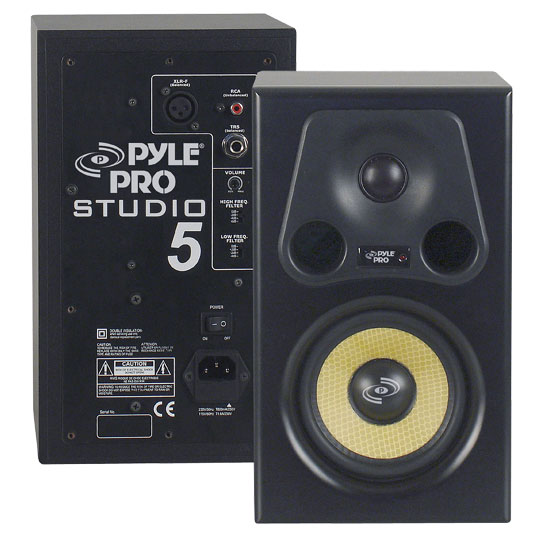 Pyle - PSTUDIO5 , Sound and Recording , Studio Stage Monitors - Box Cabinet Systems , 5.25'' 300 Watt 2-Way Bass Reflex Amplified Studio Monitor Speaker