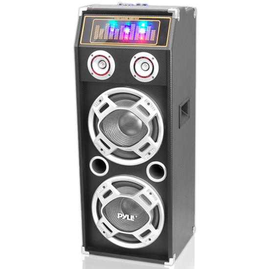 Pyle - PSUFM1030P , Sound and Recording , PA Loudspeakers - Cabinet Speakers , 1000 Watt Disco Jam 2-Way Passive DJ Speaker w/ Dual 10'' Subwoofers, Dual Tweeters & Flashing DJ Lights (For Use w/ PSUFM1035A)