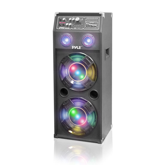 Pyle - PSUFM1045A , DJ Equipment , DJ Speakers , 1000 Watt Disco Jam 2-Way Powered Speaker System with Flashing DJ Lights, USB/SD Card Readers, FM Radio, 3.5mm AUX Input, USB Charge Port & Graphic EQ