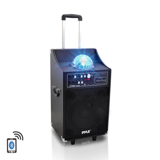 Pyle - PSUFM1049A , DJ Equipment , DJ Speakers , 600 Watt Disco Jam Bluetooth 2-Way PA Speaker System w/ USB & SD Card Readers, FM Radio, 3.5 mm Input & Flashing DJ Lights