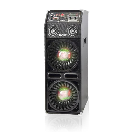 Pyle - AZPSUFM1068BT , Sound and Recording , PA Loudspeakers - Cabinet Speakers , Disco Jam 2 Bluetooth Active Powered PA Speaker System, Flashing DJ Lights, Dual 10-Inch Woofers, Dual 3-Inch Tweeters, USB/SD Memory Card Readers, Aux (3.5mm) Input, 1200 Watt (Works with Passive Speaker Model: PSUFM1065P)