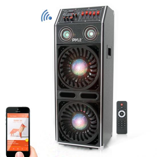 Pyle - AZPSUFM1072BT , Sound and Recording , PA Loudspeakers - Cabinet Speakers , Disco Jam 2 Bluetooth Active Powered Speaker System, Flashing DJ Lights, Dual 10-Inch Woofers, Dual 3-Inch Tweeters, USB/SD Memory Card Readers, Aux (3.5mm) Input, 1500 Watt (Works with Passive Speaker Model: PSUFM1070P)