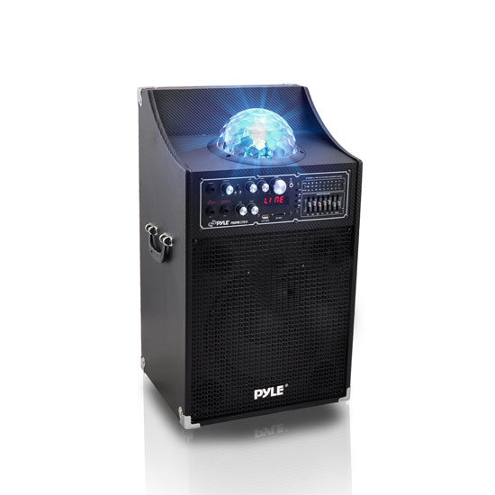 Pyle - PSUFM1230A , Sound and Recording , PA Loudspeakers - Cabinet Speakers , 1000 Watt Peak / 500 Watt RMS Disco Jam Powered Two-Way PA Speaker System with USB/SD Readers, FM Radio, 3.5 mm AUX Input, Microphone Inputs and Flashing DJ Lights