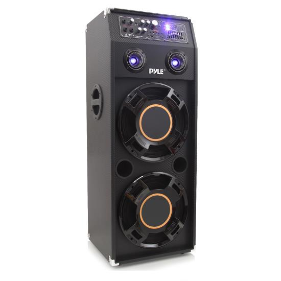Pyle - PSUFM1245A , Sound and Recording , Studio Stage Monitors - Box Cabinet Systems , 1400 Watt Disco Jam  Powered Two-Way PA Speaker System w/ USB & SD Readers, FM Radio, 3.5mm AUX Input & DJ Flashing Lights