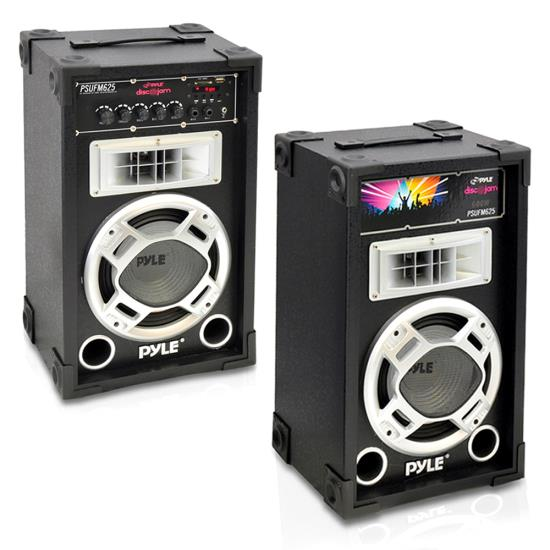 Pyle - PSUFM625 , DJ Equipment , DJ Speakers , Dual 600 Watt Disco Jam Powered Two-Way PA Speaker System w/ USB/SD Readers, FM Radio, 3.5mm AUX Input  for iPod/MP3 Players