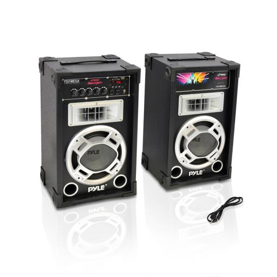 Pyle - PSUFM835A , DJ Equipment , DJ Speakers , Dual 800 Watt Disco Jam Powered Two-Way PA Speaker System w/ USB/SD Card Readers, FM Radio, 3.5 mm AUX Input