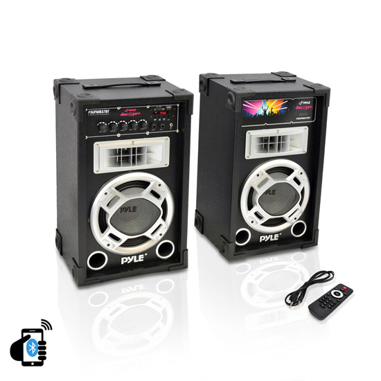 Pyle - PSUFM837BT , DJ Equipment , Wireless PA Systems , Dual 800 Watt Disco Jam Powered Two-Way PA Bluetooth Speaker System w/ USB/SD Card Readers, FM Radio, 3.5 mm AUX Input (Active & Passive Speakers)