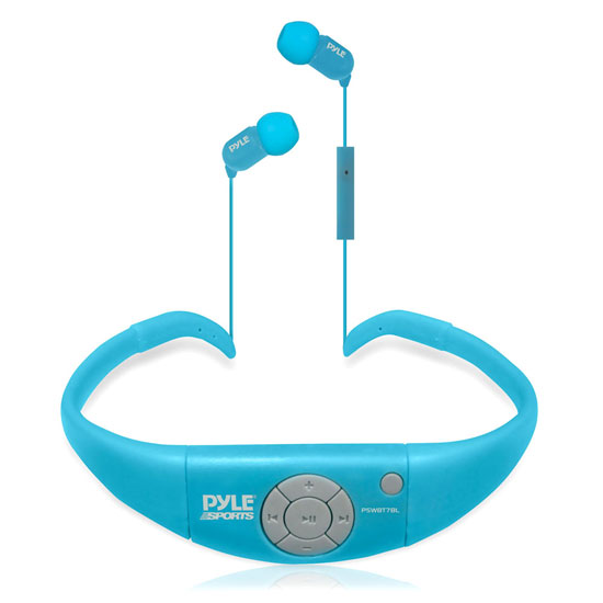 Pyle - PSWBT7BL , Marine Audio & Video , Headphones , Active Sport Water Resistant Bluetooth Hands Free Wireless Stereo Headphones and Headset with Built in Microphone for Call Answering (Blue)