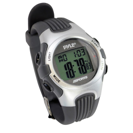 Pyle - PSWGM64S , Sports and Outdoors , Watches , Gadgets and Handheld , Watches , Gymaster Fitness Multi-function Watch w/ Pacer,  50 Lap Chronograph Memory, 4 Countdown Timers (Silver Color)