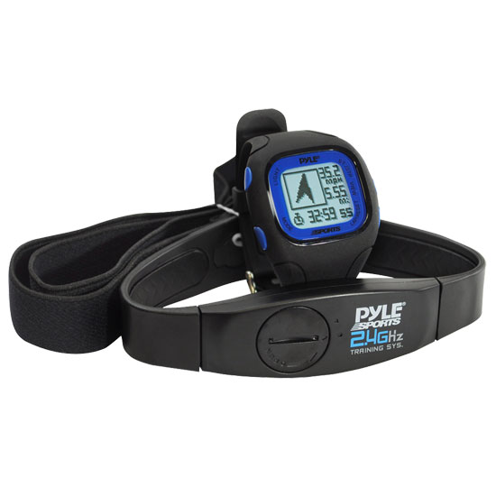 Pyle - PSWGP405BL , Sports & Outdoors , Sports Watches , GPS Watch w/ Coded Heart Rate Transmission, Navigation, Speed, Distance, Workout Memory, Compass,  PC link  (Black Color)