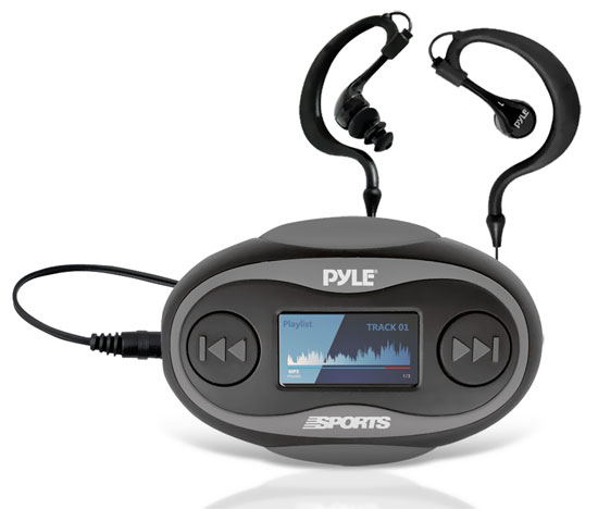 Pyle - PSWP25BK , Gadgets and Handheld , Headphones - MP3 Players , Sound and Recording , Headphones - MP3 Players , 4GB Waterproof MP3 Player/FM Radio with Pedometer, Stop Watch, LCD Display and Included Waterproof Headphones (Black Color)