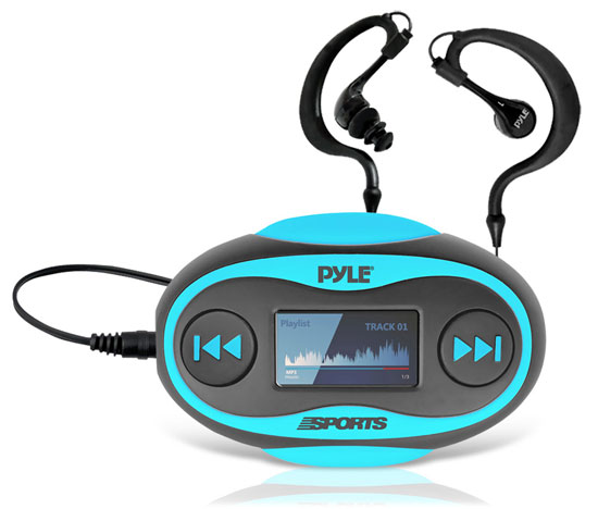 Pyle - PSWP25BL , Gadgets and Handheld , Headphones - MP3 Players , Sound and Recording , Headphones - MP3 Players , 4GB Waterproof MP3 Player/FM Radio with Pedometer, Stop Watch, LCD Display and Included Waterproof Headphones (Blue Color)