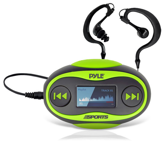 Pyle - PSWP25GR , Marine Audio & Video , Headphones , 4GB Waterproof MP3 Player/FM Radio with Pedometer, Stop Watch, LCD Display and Included Waterproof Headphones (Green Color)