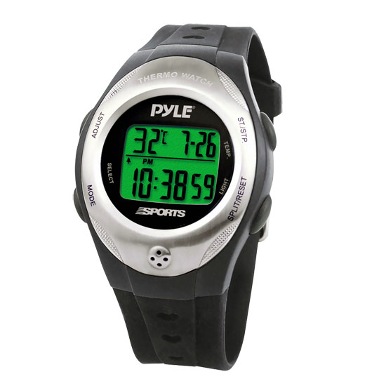 Pyle - PSWTHM15BK , Sports and Outdoors , Watches , Thermo Watch w/ Thermometer, Chronograph, Countdown Timer (Black Color)