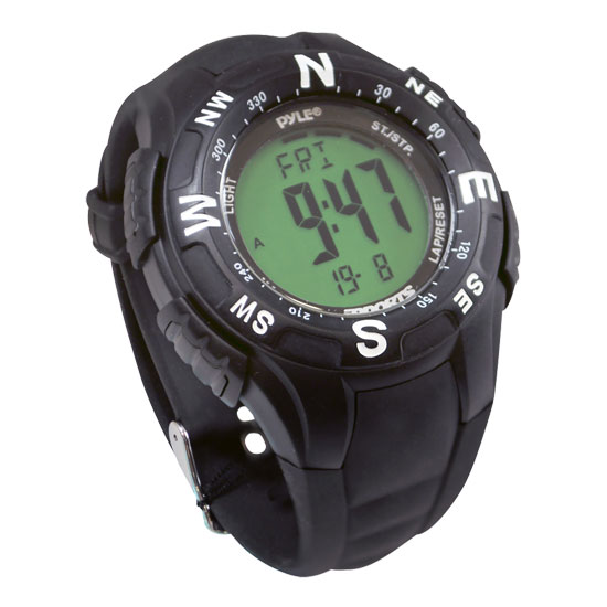 Pyle - PSWTM34BK , Sports & Outdoors , Sports Watches , Track Watch w/ Digital Compass, Chronograph, Pacer, Countdown Timer (Black Color)