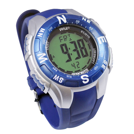 Pyle - PSWTM34BL , Sports and Outdoors , Watches , Track Watch w/ Digital Compass, Chronograph, Pacer, Countdown Timer (Blue Color)