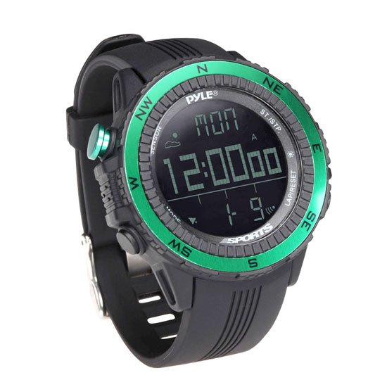 Pyle - PSWWM82GN , Sports & Outdoors , Sports Watches , Digital Multifunction Active Sports Watch with Altimeter, Barometer, Chronograph, Compass, Count-Down Timer, Measuring & Weather Forecast Modes (Green)