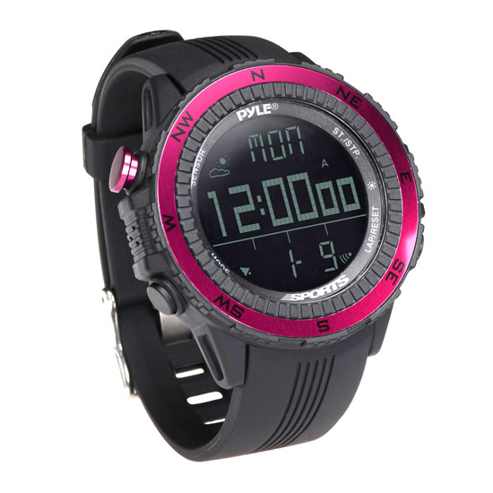 Pyle - PSWWM82PN , Sports & Outdoors , Sports Watches , Digital Multifunction Active Sports Watch with Altimeter, Barometer, Chronograph, Compass, Count-Down Timer, Measuring & Weather Forecast Modes (Pink)