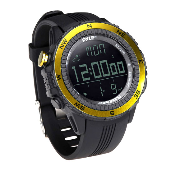 Pyle - PSWWM82YL , Sports & Outdoors , Sports Watches , Digital Multifunction Active Sports Watch with Altimeter, Barometer, Chronograph, Compass, Count-Down Timer, Measuring & Weather Forecast Modes (Yellow)