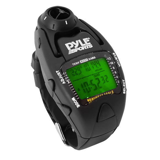 Pyle - PSWWM90BK , Sports and Outdoors , Watches , Gadgets and Handheld , Watches , Wind Speed Meter w/ Wind Chill Temp., Altimeter, Barometer, Compass, 10 Laps Chronograph Memory, Yacht Timer (Black Color)