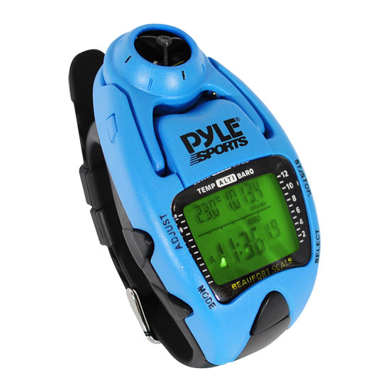 Pyle - PSWWM90BL , Sports and Outdoors , Watches , Gadgets and Handheld , Watches , Wind Speed Meter w/ Wind Chill Temp., Altimeter, Barometer, Compass, 10 Laps Chronograph Memory, Yacht Timer (Blue Color)