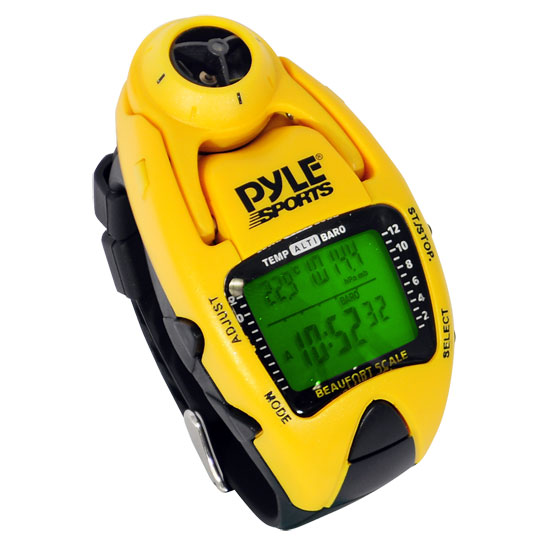 Pyle - PSWWM90Y , Sports & Outdoors , Sports Watches , Wind Speed Meter w/ Wind Chill Temp., Altimeter, Barometer, Compass, 10 Laps Chronograph Memory, Yacht Timer (Yellow Color)