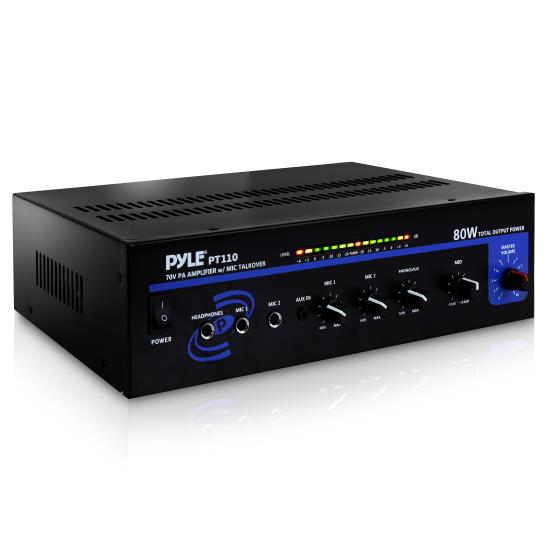 Pyle - PT110 , DJ Equipment , Power Amplifiers , 80 WATT AC/DC Microphone PA Mono Amplifier w/ 70V Output & Mic Talkover